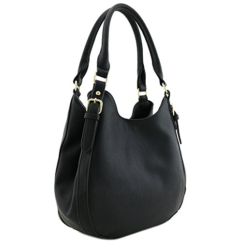 Light-weight 3 Compartment Faux Leather Medium Hobo Bag Black