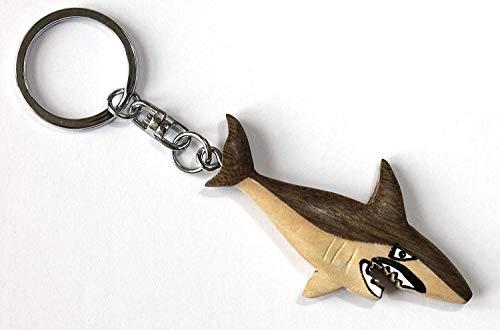 Unbekannt Schlüsselanhänger Hai 12,5cm Holz + Metall Schlüsselring Haie Tier Tiere Fische Fisch Haifische