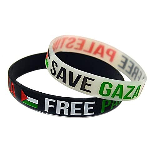 2 Silicon Rubber Wristband with Palestine Flag and Free Palestine Save Gaza Slogan (2 Black)