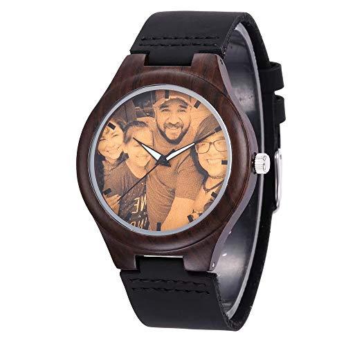 Reloj de Madera Personalizado con Foto o Mensaje Grabado de Doble Cara para Hombres, Mujeres, cumpleaños, Navidad, día del Padre, Regalo