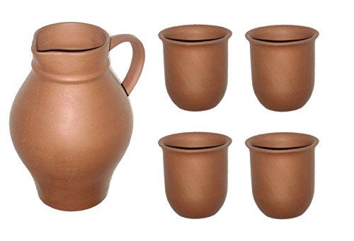 Akru-Keramik Tonset Tonkrug 1 l und 4 0,2 l Becher unglasiert