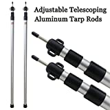 Sunnyglade 2 Pcs Adjustable Tarp Poles Telescoping Aluminum Rods Portable Awning Poles for Camping,Backpacking,Hiking(Set of 2)