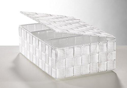 Regalkorb mit Deckel aus Nylon in weiß