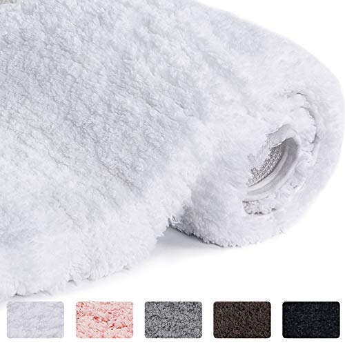 "Lifewit Bath Mat White Bathroom Rug Soft Shag Water Absorbent with Non-Slip Rubber, 20"" x 32"""