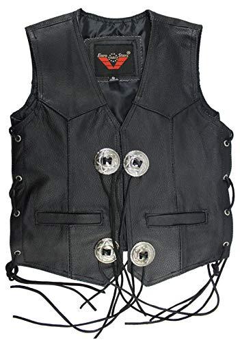 EURO STARS Kinder Kanchoo Lederweste, Leather Vest black (L, Schwarz)