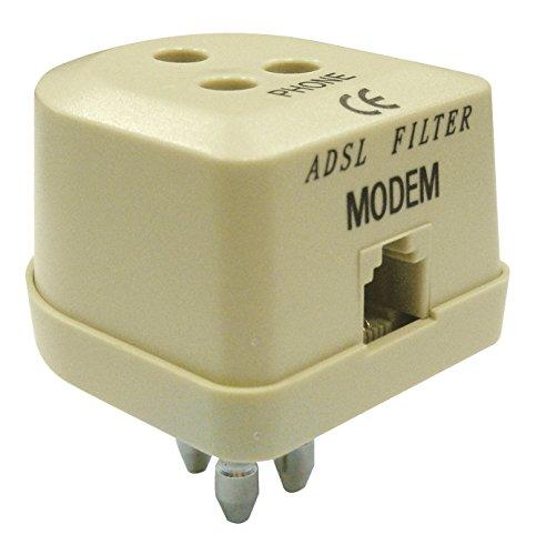 FILTRO ADSL CON SPINA/PRESA TRIPOLARE+PRESA MODULARE RJ11 PER MODEM