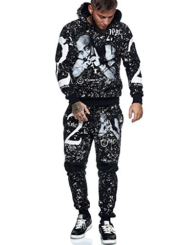 OneRedox | Herren Jogginganzug | 2 Pac | Tupac | Makaveli | Hoodie-Sporthose | Jogging-Anzug | Trainings-Anzug | Jogging-Hose | Modell JG-636 Schwarz XXL