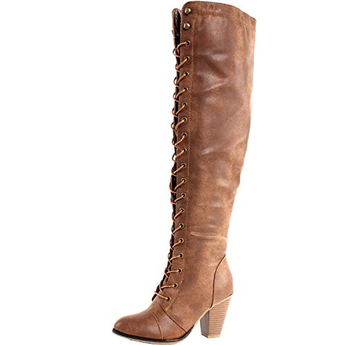 Forever Damen Chunky Heel Lace Up Overknee Hohe Reitstiefel, Braun (hautfarben), 36 EU