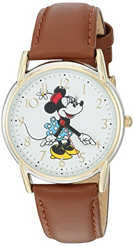 Disney Minnie Mouse Women's Two Tone Cardiff Alloy Watch, Brown Leather Strap, W002770