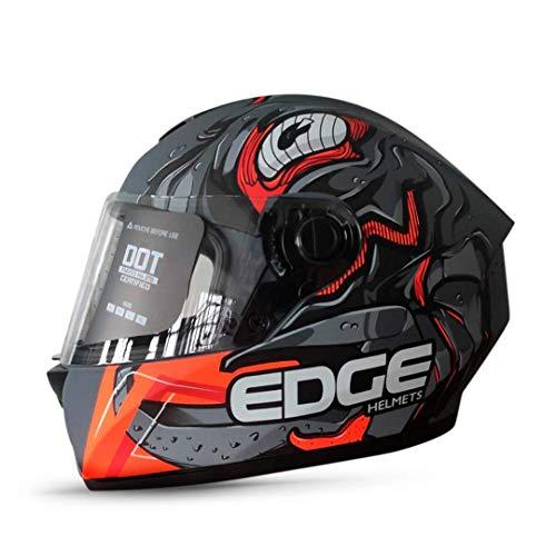 Casco De Moto Naranja  marca EDGE MOTORCYCLE PARTS AND ACCESSORIES