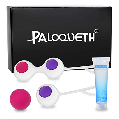 Kegel Balls Exercise Weight for Women Bladder Control & Advance-Strengthen Pelvic Floor Muscle Recovery, PALOQUETH Silicone Ben Wa Balls Weighted Exercise Kit for Beginners, 4 Pieces Set