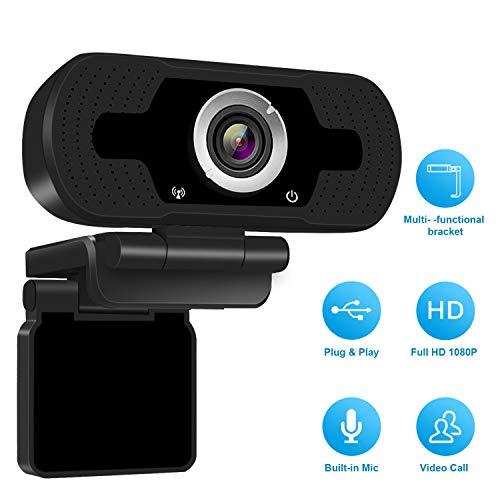 1080P Full HD Webcam with Webcam Cover, Cámara para computadora portátil para conferencias y videollamadas, cámara web Pro Stream con videollamadas Plug and Play, micrófono incorporado