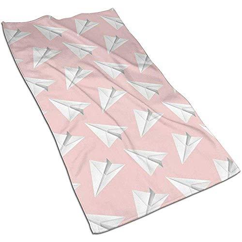 Papier Vliegtuig, Roze Achtergrond Microvezel Handdoeken Polyester Persoonlijkheid Grappig Patroon Super Absorbens voor Badkamer, Keuken, Wash Auto, Schoonmaken Handdoek