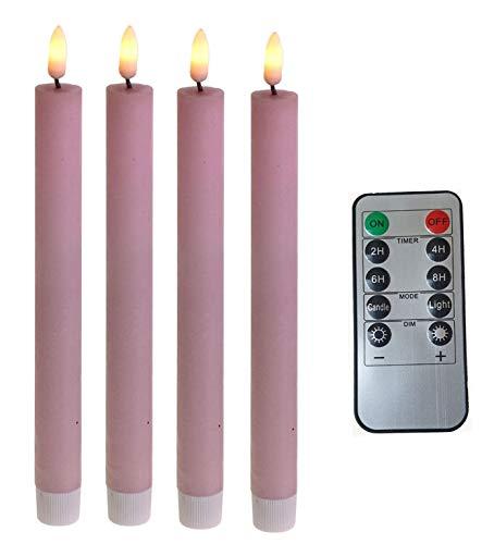 Fachhandel Plus LED Stabkerzen 4 Stück Tafelkerzen rosa flammenlos Fernbedienung Timer Batterie