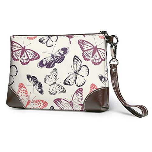 XCNGG Schöne Schmetterling Clutch Geldbörsen Lederhandtasche Wristlet Clutch Geldbörsen für Damen
