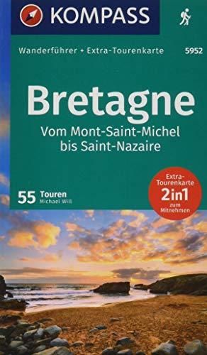 KOMPASS Wanderführer Bretagne, vom Mont-Saint-Michel bis Saint-Nazaire: Wanderführer mit Extra-Tourenkarte 1:50000, 55 Touren, GPX-Daten zum Download.