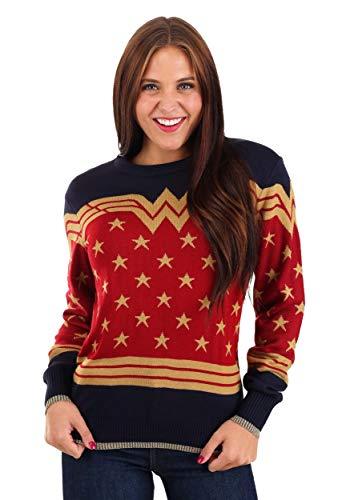Fun Costumes Adult Wonder Woman Dark Blue Ugly Christmas Sweater – M