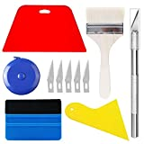 CARTINTS Wallpaper Smoothing Tool Kit Include Tape Measure, Red Squeegee, Felt Edge Squeegee, Paint Brush and Craft Knife for Adhesive Paper Application