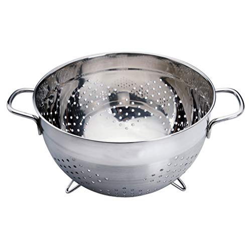 ZWMG colander High-grade Stainless Steel Colander with Heavy-duty Handle Deep Bowl Brushed Stainless Steel Appearance Used for Pasta or Washing Fruits Vegetables Salads strainers for kitchen