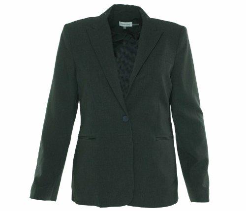 Calvin Klein Women's Single Button Suit Jacket, Charcoal Melange, 10