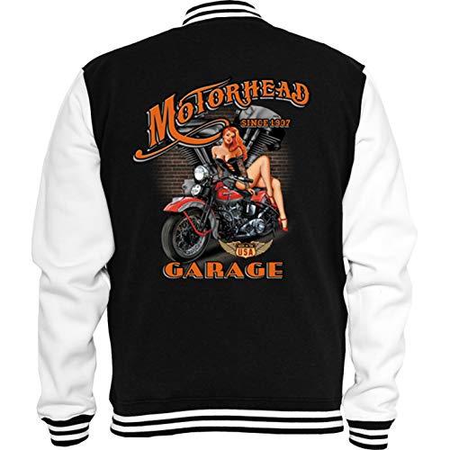 Gänseblümchendruck Biker Sweat College Jacke Motorhead Garage Pinup Chopper Bobber USA M schwarz