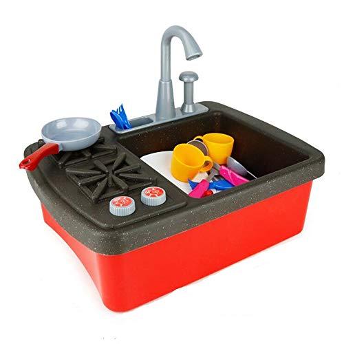 Z@SS Kitchen Sink Spielzeug - Spiele Sink-Spiel-Haus Pretend Toy Kitchen Sink mit fließendem Wasser - Waschbecken mit Echt Hahn & Drain, Geschirr, Besteck