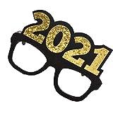 Amosfun - Occhiali da vista glitterati 2021 con numero 2021, per Capodanno, per feste di Capodanno, con cornice quadrata