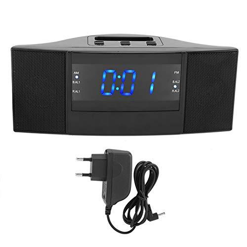OUKENS Reloj Despertador LED, Reloj Despertador Digital LED 2 en 1 de Escritorio con función de Radio FM Am (Enchufe de la UE 220 V)