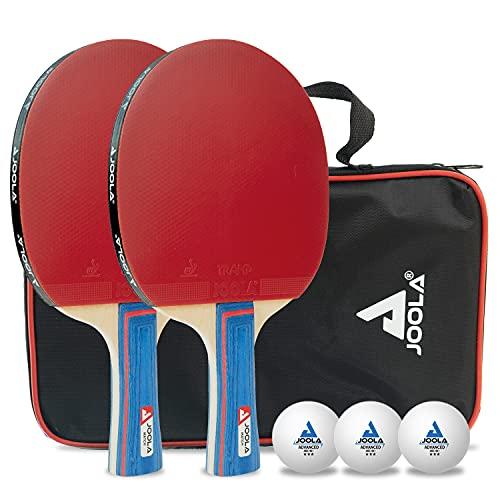 JOOLA Tischtennis-Set Duo Bestehend aus 2 Tischtennisschläger + 3 Tischtennisbälle + 1 Aufbewahrungstasche, mehrfarbig, one size