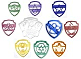 PAW PATROL LOGO BADGE SHIELD TAGS HEROIC RESCUE PUPS SKYE MARSHALL CHASE RUBBLE EVEREST ZUMA ROCKY TRACKER SET OF 10 SPECIAL OCCASION COOKIE CUTTERS BAKING TOOL MADE IN USA PR1048