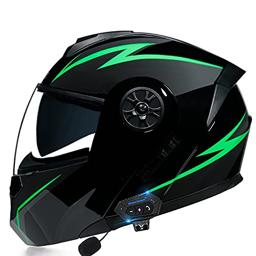 NAINAIWANG Modular Motorcycle Helmets Bluetooth Integrated FM DOT Certification Flip Up Touring Helmets Built-in Dual-Speaker Mp3 Intercom Bluetooth Headset Microphone DOT/ECE Approved