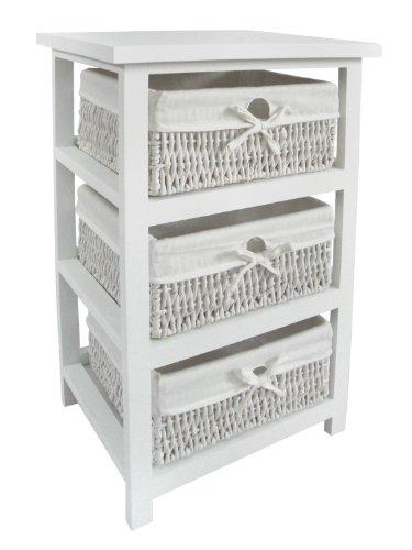 Premier Housewares - Cajonera de Mimbre para baño (3 cajones Forrados, 63 x 40 x 32 cm), Color Blanco