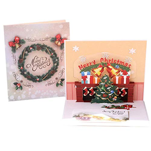 JYKFJ 3d Pop Up Greeting Cards Christmas Card Creative Cartoon Xmas Tree Handmade Holiday Card with Envelopes