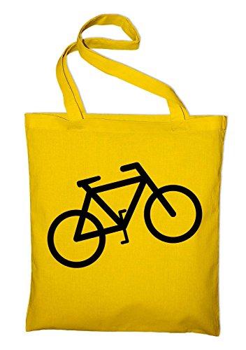 Styletex23 Fahrrad Bike Logo Piktogramm Jutebeutel Baumwolltasche, gelb