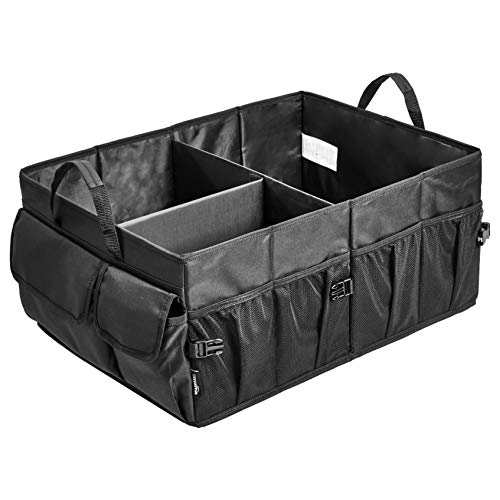 Cargo Trunk Organizers and Storage Straps 2 Compartments, Black Foldable Lid Befano Car Trunk Organizer SUV Non-Slip Waterproof Bottom