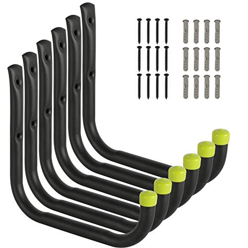 FEED GARDEN Garage Storage Utility Hooks Heavy Duty Ladder Hooks 8'' Large Hook Indoor/Outdoor Use for Tools,Bikes,Water Pipes,Black,6 Pack