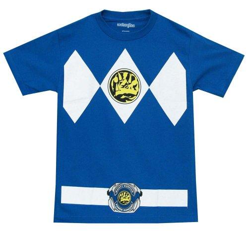 The Power Rangers Blue Rangers Costume Adult T-shirt Tee,2XL