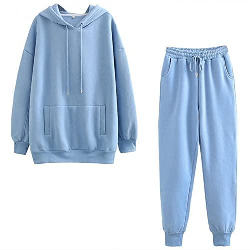 XUNN Tuta da jogging da donna con felpa e pantaloni da allenamento, in cotone, tinta unita, per il tempo libero, autunno e inverno, #06, XL