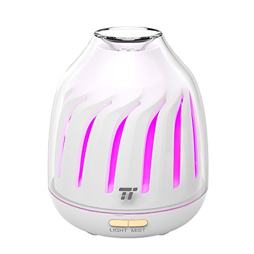 TaoTronics Mini Oil Diffuser 120ml, Easy Use Ultrasonic Air Diffusers for Essential Oils, Aromatherapy Essential Oil Diffuser with Auto Shut-off, 5 Color LED Lights BPA-free for Home Office