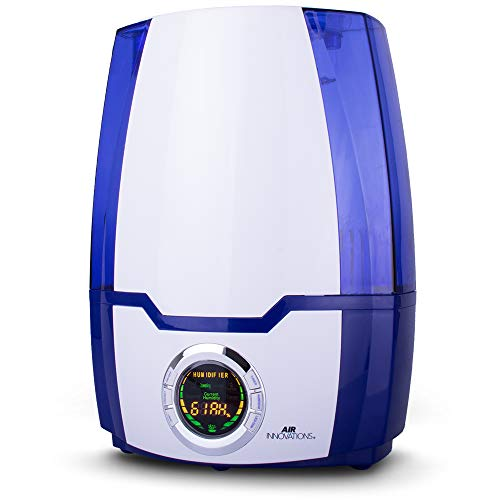 Air Innovations Humidifier Large Capacity 1.37 Gal 5.2L Whisper-Quiet High Performance Cool Mist Ultrasonic Rooms up to 400 SqFt Baby Bedroom BPA Free Up to 70hs Digital Display Aroma Tray (Blue)