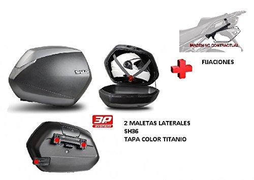 KIT SHAD fijacion + maletas laterales tapa titanio SH36 SUZUKI V-STROM 650 04-11