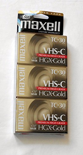 Maxell VHS-C TC-30 HGX-Gold Camcorder Videocassette (3pk)