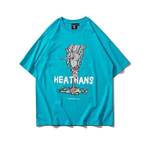 DREAMING-Sudadera De Manga Corta De Verano con Estampado De Unicornio Camiseta De Algodón De Cuello Redondo con Estampado Suelto Camisa De Pareja para Hombres Y Mujeres Blue X-Large