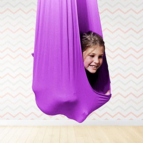 Uniquelove Hamaca Elástica para Niños Cama De Columpio Elástica para Interiores Y Exteriores Cinturón De Entrenamiento De Yoga Aéreo Cómoda Hamaca - Púrpura 100X280Cm