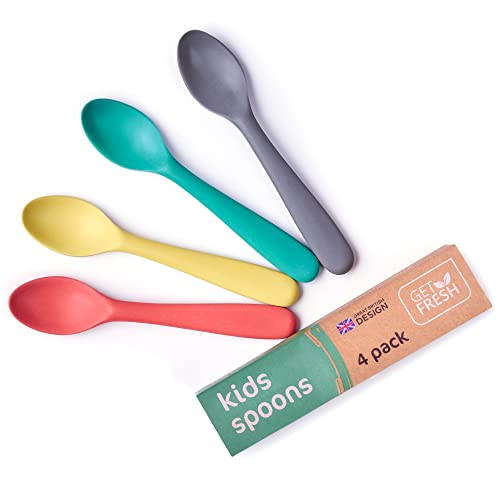 GET FRESH Bamboo Kids Spoons Set – 4-pack Colorful Bamboo Kids Cutlery for Everyday Use – Reusable Bamboo Fiber Kids Spoons for Daily Mealtime – Large Bamboo Utensils for Toddlers and School Children