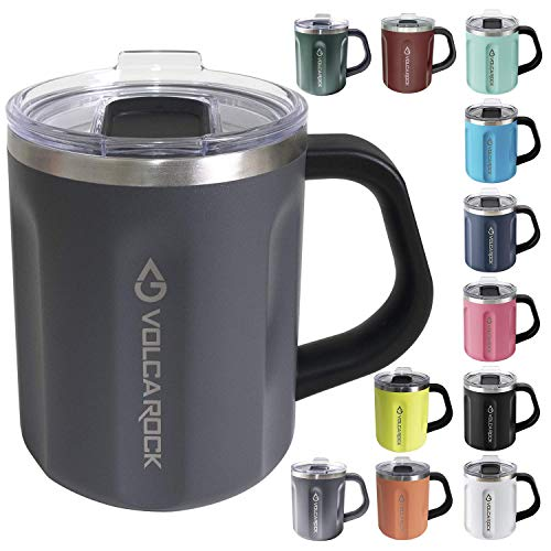 VOLCAROCK Stainless Steel Coffee Mug Cup with Handle, 16 oz Double Wall Vacuum Insulated Travel Mug Tumbler With Clear Slider Lid, Insulated Camping Tea Flask for Hot & Cold Drinks (Grey)