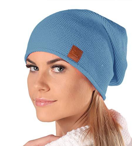 Mikos* Beanie für Damen | Frühling Mütze für Damen in Blau | Herbstmütze Damen | Long Slouch Beanie | Mütze mit hohem Tragecomfort |699 (Jeans)