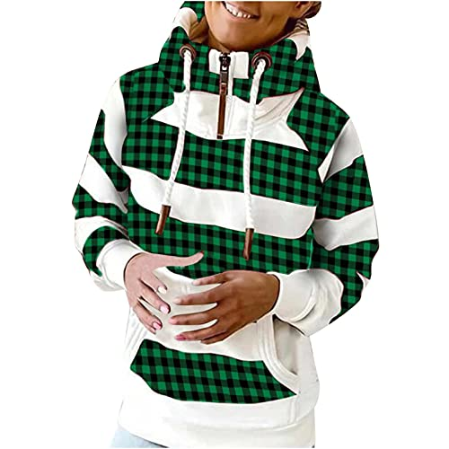 Women Color Block Pullover Sweatshirt Tops Turtleneck Casual Full-Sleeve Hooded Sweatshirts Jacket with Pockets Coat Green