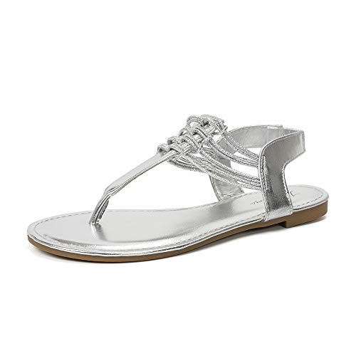 LUFFYMOMO Womens Flat Sandal Elastic Strappy Thong Sandals(10 M US Silver)