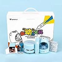クリエイティブ着色電動鉛筆削り学生オフィス文具のギフトボックスセット絵画 HeFeiYuTongGuangGaoChuanMei (Color : Blue)